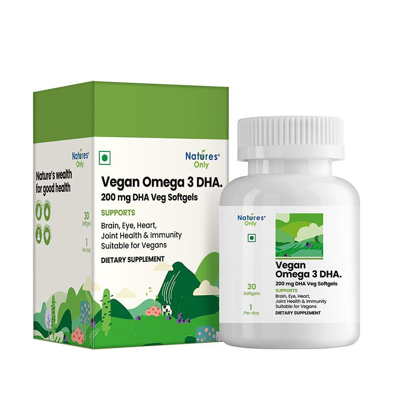 Natures Only Vegan Omega 3 DHA. 200 mg DHA. 100% Veg, Safe & Pure. Fish-Free. Suitable For Vegans. One a day. 30 Vegetarian Softgels.