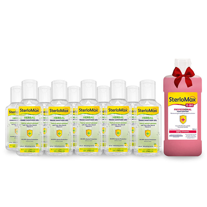 SterloMax Herbal Hand Sanitizer Gel 60 ml. Pack of 10 with FOC 1 x 500 ml SterloMax Professional E80