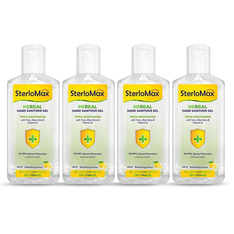 SterloMax Herbal Hand Sanitizer Gel with Tulsi, Aloe & Vitamin E. 80% Ethanol Alcohol based Sanitizer gel. 240 ml. Pack of 4