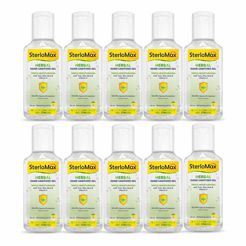 SterloMax Herbal Hand Sanitizer Gel with Tulsi, Aloe & Vitamin E. 80% Ethanol Alcohol based Sanitizer gel. 60 ml. Pack of 10