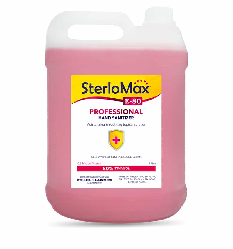 SterloMax E-80 Professional - 80% Ethanol-based Hand Rub Sanitizer and Disinfectant. 5 Litres